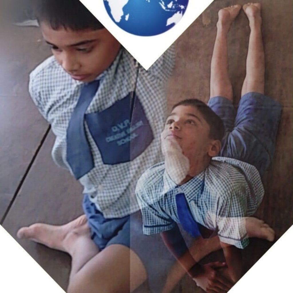 creative school student doing yoga